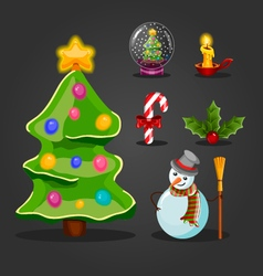 Christmas set for game interface design vector