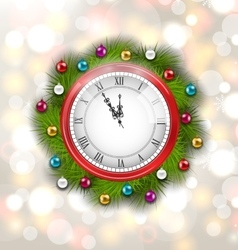 Christmas Wreath with Clock vector