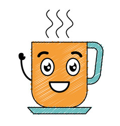 Coffee mug kawaii character vector