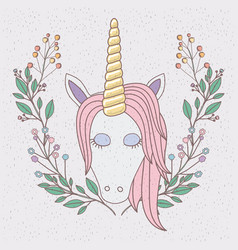 Colorful frame with front face of unicorn and half vector