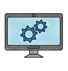 computer display with gears machine vector image