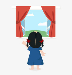 Cute girl standing back with open window with a vector