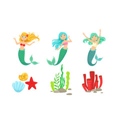 cute little mermaids and underwater world elements vector image