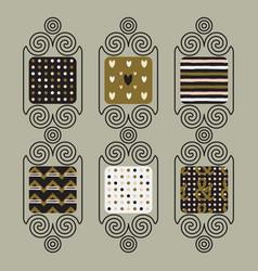 cute patterns set in line spiral frames vector image