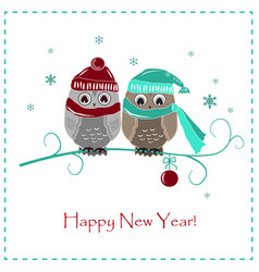 Cute winter card two baby owls vector