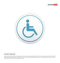 Disabled person icon - white circle button vector