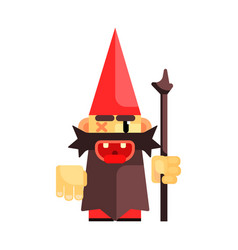 dwarf in a red hat grimly grins fairy tale vector image
