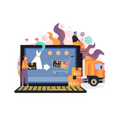 e-commerce concept for web banner website vector image