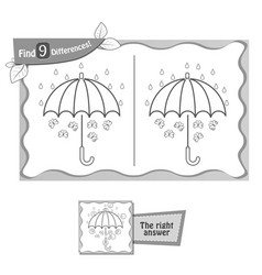 find 9 differences game black umbrella vector image