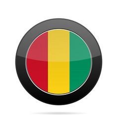 Flag of guinea shiny black round button vector
