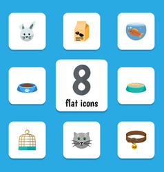 Flat icon animal set of feeding nutrition box vector