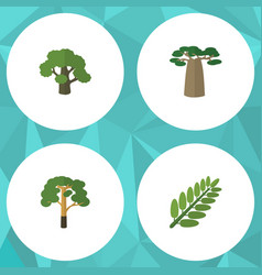 flat icon natural set of tree wood leaves and vector image