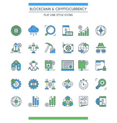 Flat line design cryptocurrency icons vector