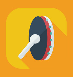 Flat modern design with shadow icons tambourine vector