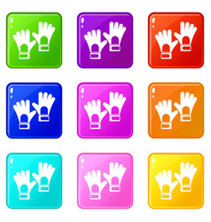 Gloves of goalkeeper icons 9 set vector
