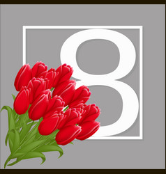 greeting card template with flowers march 8 vector image