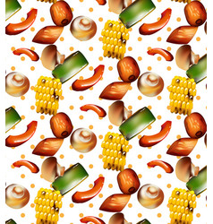 Grilled vegetables pattern background vector