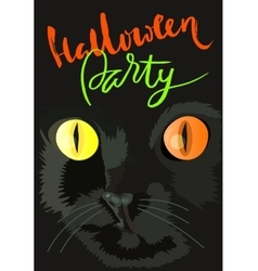 Halloween black cat with colored eyes Halloween vector