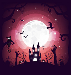 halloween element design on full moon background vector image