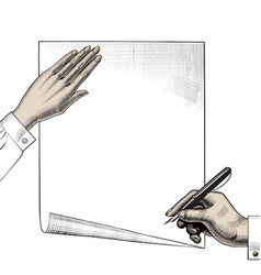 hand with a pen retro design element vector image