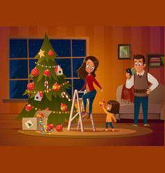 happy family mom dad and doughter dresses up vector image