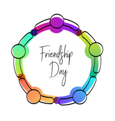 Happy friendship day card of friend group hug vector
