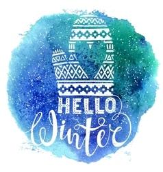 Hello winter text and knitted woolen mitten vector