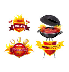 Hot bbq barbecue tasty set vector