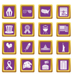 Independence day flag icons set purple vector