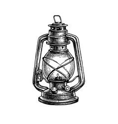 ink sketch kerosene lamp vector image