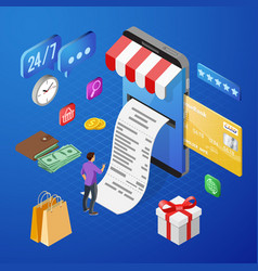 internet shopping online payments isometric vector image