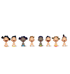 Interracial group of babies and toddlers vector