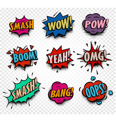 isolated abstract colorful comics speech balloons vector image
