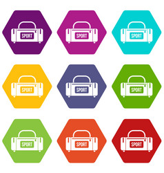 large sports bag icon set color hexahedron vector image