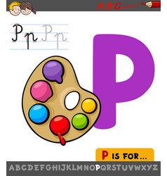Letter p worksheet with palette with paints vector