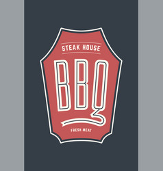 logo bbq steak house vector image