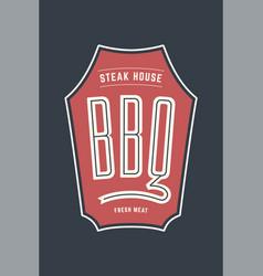 logo bbq steak house vector image