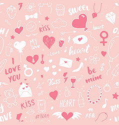 love and valentine day seamless pattern hand vector image