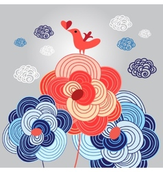 love with bird on flowers vector image