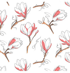 magnolia flower pattern repeat botanical texture vector image