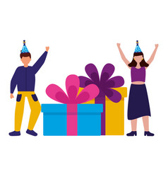 man and woman with birthday gift boxes vector image