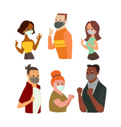 man and women wearing face mask gesturing ok sign vector image