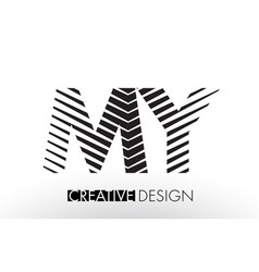 My m y lines letter design with creative elegant vector