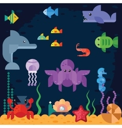 Ocean underwater life sea animals vector