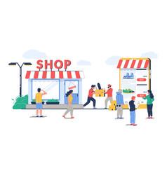 Offline to online commerce flat vector