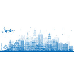Outline izmir skyline with blue buildings vector