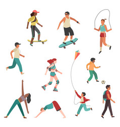 people exercise person city girl boy man and vector image
