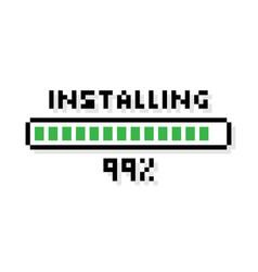 pixel art installing green loading bar loading vector image