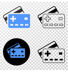 plus bank cards eps icon with contour vector image