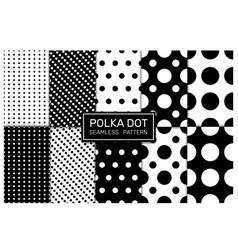 Polkadot black and white seamless pattern vector